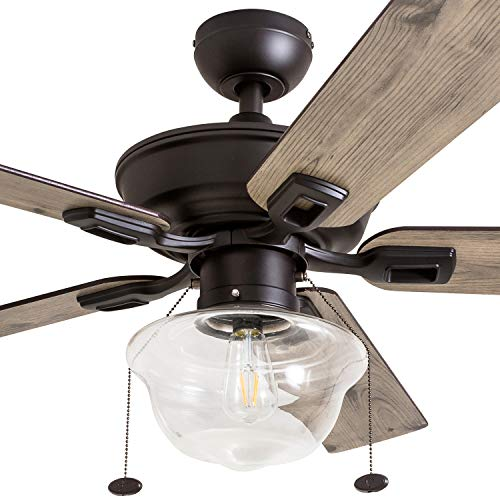 Prominence Home 80091 01 Abner Vintage IndoorOutdoor Ceiling Fan ETL Damp Rated 52 LED Schoolhouse Edison Bulb Rustic FarmhouseBarnwood Blades Espresso Bronze 0 1
