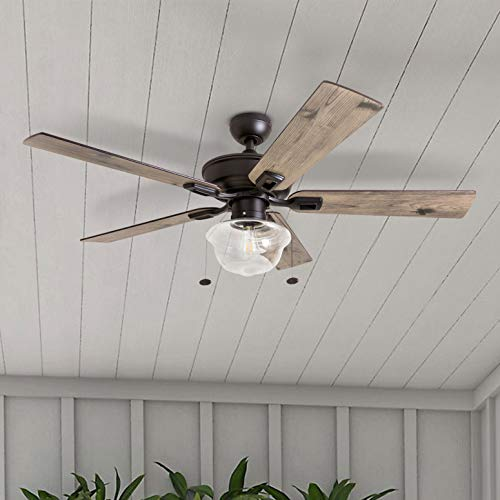 Prominence Home 80091 01 Abner Vintage IndoorOutdoor Ceiling Fan ETL Damp Rated 52 LED Schoolhouse Edison Bulb Rustic FarmhouseBarnwood Blades Espresso Bronze 0 3