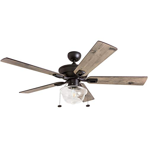Prominence Home 80091 01 Abner Vintage IndoorOutdoor Ceiling Fan ETL Damp Rated 52 LED Schoolhouse Edison Bulb Rustic FarmhouseBarnwood Blades Espresso Bronze 0