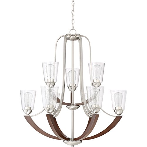 Quoizel HE5009BN Holbeck Wood Chandelier 9 Light 900 Watts Brushed Nickel 34 H X 31 W 0 0