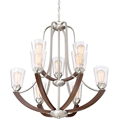 Quoizel HE5009BN Holbeck Wood Chandelier 9 Light 900 Watts Brushed Nickel 34 H X 31 W 0 1