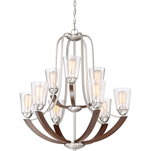 Quoizel HE5009BN Holbeck Wood Chandelier 9 Light 900 Watts Brushed Nickel 34 H X 31 W 0 2