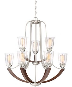Quoizel HE5009BN Holbeck Wood Chandelier 9 Light 900 Watts Brushed Nickel 34 H X 31 W 0 300x360