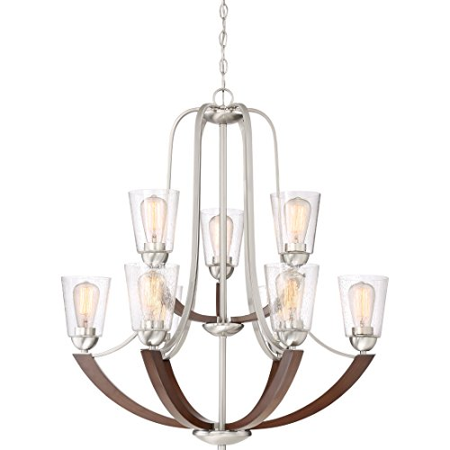Quoizel HE5009BN Holbeck Wood Chandelier 9 Light 900 Watts Brushed Nickel 34 H X 31 W 0
