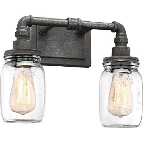Quoizel SQR8602RK Squire Industrial Rustic Vanity Wall Lighting 2 Light 200 Watts Rustic Black 11H X 14W 0 0