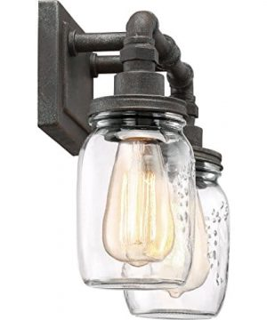 Quoizel SQR8602RK Squire Industrial Rustic Vanity Wall Lighting 2 Light 200 Watts Rustic Black 11H X 14W 0 1 300x360