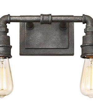 Quoizel SQR8602RK Squire Industrial Rustic Vanity Wall Lighting 2 Light 200 Watts Rustic Black 11H X 14W 0 2 300x360