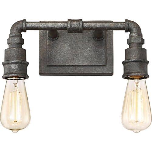 Quoizel SQR8602RK Squire Industrial Rustic Vanity Wall Lighting 2 Light 200 Watts Rustic Black 11H X 14W 0 2