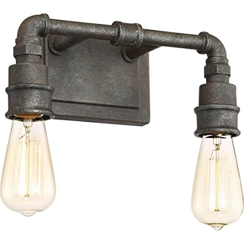 Quoizel SQR8602RK Squire Industrial Rustic Vanity Wall Lighting 2 Light 200 Watts Rustic Black 11H X 14W 0 3