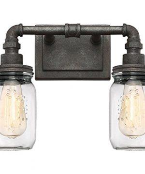 Quoizel SQR8602RK Squire Industrial Rustic Vanity Wall Lighting 2 Light 200 Watts Rustic Black 11H X 14W 0 300x360