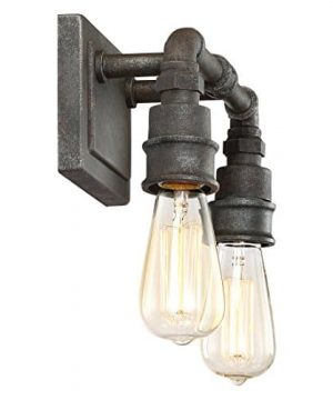 Quoizel SQR8602RK Squire Industrial Rustic Vanity Wall Lighting 2 Light 200 Watts Rustic Black 11H X 14W 0 4 300x360
