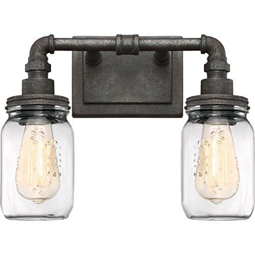 Quoizel SQR8602RK Squire Industrial Rustic Vanity Wall Lighting 2 Light 200 Watts Rustic Black 11H X 14W 0