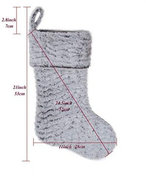 S DEAL 21 Inches Christmas Stocking Double Layers White Faux Fur Cuff Gift Holder Party Holiday Decoration Mantel Ornament 0 0 300x360