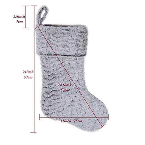 S DEAL 21 Inches Christmas Stocking Double Layers White Faux Fur Cuff Gift Holder Party Holiday Decoration Mantel Ornament 0 0