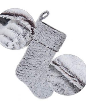 S DEAL 21 Inches Christmas Stocking Double Layers White Faux Fur Cuff Gift Holder Party Holiday Decoration Mantel Ornament 0 2 300x360