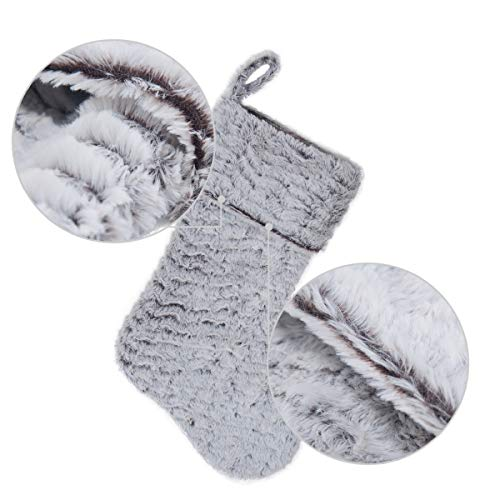 S DEAL 21 Inches Christmas Stocking Double Layers White Faux Fur Cuff Gift Holder Party Holiday Decoration Mantel Ornament 0 2