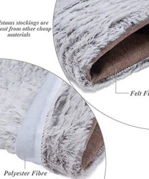 S DEAL 21 Inches Christmas Stocking Double Layers White Faux Fur Cuff Gift Holder Party Holiday Decoration Mantel Ornament 0 3 300x360