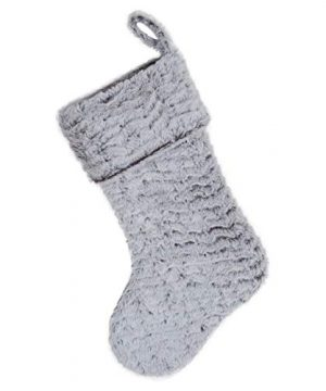 S DEAL 21 Inches Christmas Stocking Double Layers White Faux Fur Cuff Gift Holder Party Holiday Decoration Mantel Ornament 0 4 300x360