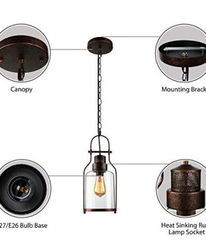 SUSUO Lighting 6 Wide Vintage Industrial Glass Pendant Ceiling Hanging Light With Cylinder Glass ShadeAntique Copper Finish 0 0 300x360