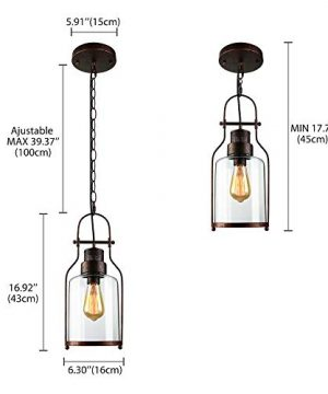 SUSUO Lighting 6 Wide Vintage Industrial Glass Pendant Ceiling Hanging Light With Cylinder Glass ShadeAntique Copper Finish 0 1 300x360