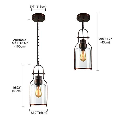 SUSUO Lighting 6 Wide Vintage Industrial Glass Pendant Ceiling Hanging Light With Cylinder Glass ShadeAntique Copper Finish 0 1