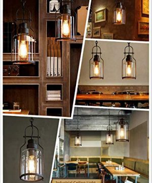 SUSUO Lighting 6 Wide Vintage Industrial Glass Pendant Ceiling Hanging Light With Cylinder Glass ShadeAntique Copper Finish 0 4 300x360