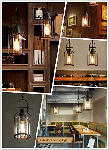 SUSUO Lighting 6 Wide Vintage Industrial Glass Pendant Ceiling Hanging Light With Cylinder Glass ShadeAntique Copper Finish 0 4