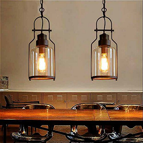 SUSUO Lighting 6 Wide Vintage Industrial Glass Pendant Ceiling Hanging Light With Cylinder Glass ShadeAntique Copper Finish 0