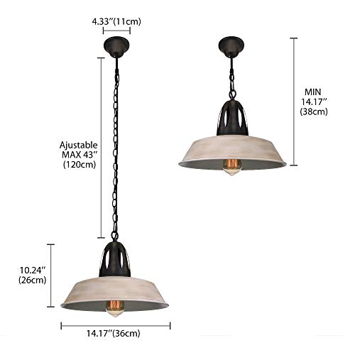 Susuo Lighting Simplicity Barn Pendant Light Rustic Farmhouse Hanging Fixtures For Dining Room Kitchen Indoor Lamp Cream