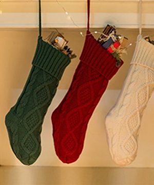 SherryDC Crochet Cable Knit Christmas Stockings 18 Hanging Socks For Christmas Decorations Set Of 3 0 0 300x360