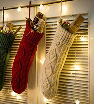 SherryDC Crochet Cable Knit Christmas Stockings 18 Hanging Socks For Christmas Decorations Set Of 3 0 2 300x334