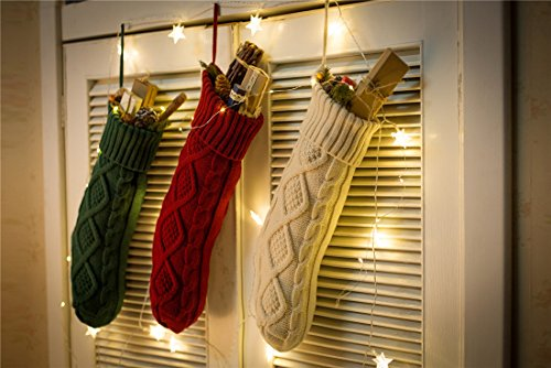 SherryDC Crochet Cable Knit Christmas Stockings 18 Hanging Socks For Christmas Decorations Set Of 3 0 2