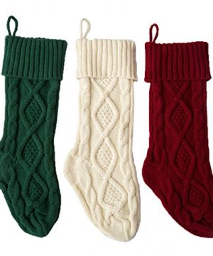 SherryDC Crochet Cable Knit Christmas Stockings 18 Hanging Socks For Christmas Decorations Set Of 3 0 300x360