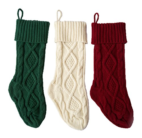 SherryDC Crochet Cable Knit Christmas Stockings 18 Hanging Socks For Christmas Decorations Set Of 3 0
