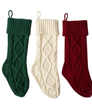 Solucky Set Of 3 18 Classic Solid Color Christmas Knit Stockings White Red And Green 0 300x360