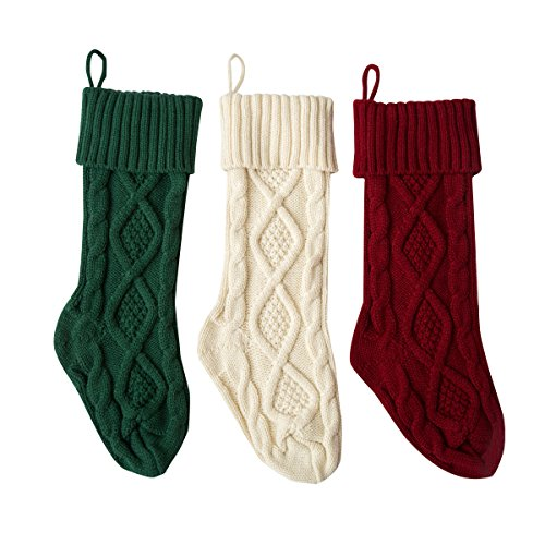 Solucky Set Of 3 18 Classic Solid Color Christmas Knit Stockings White Red And Green 0