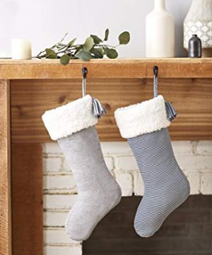SplendidHome Sherpa And Jersey Christmas Stocking NavyWhite Stripe 0 1 300x360
