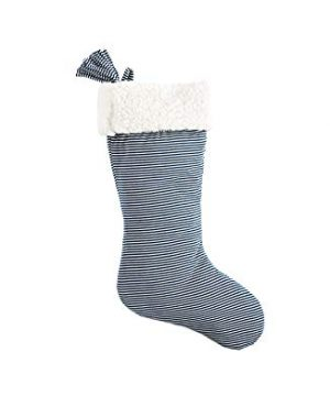 SplendidHome Sherpa And Jersey Christmas Stocking NavyWhite Stripe 0 300x360