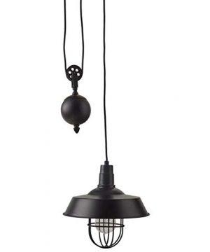 Stone Beam Farmhouse Pulley Pendant With Bulb 23 64H Black 0 300x360