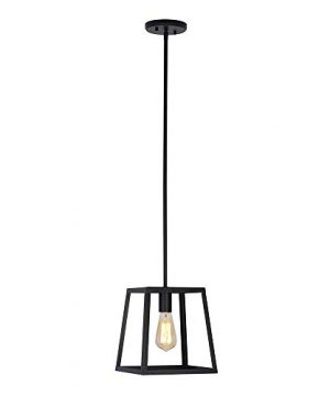 Stone Beam Industrial 1 Light Rectangle Chandelier Pendant With Bulb 1163W Matte Black 0 0 300x360