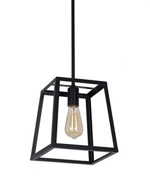 Stone Beam Industrial 1 Light Rectangle Chandelier Pendant With Bulb 1163W Matte Black 0 3 300x360