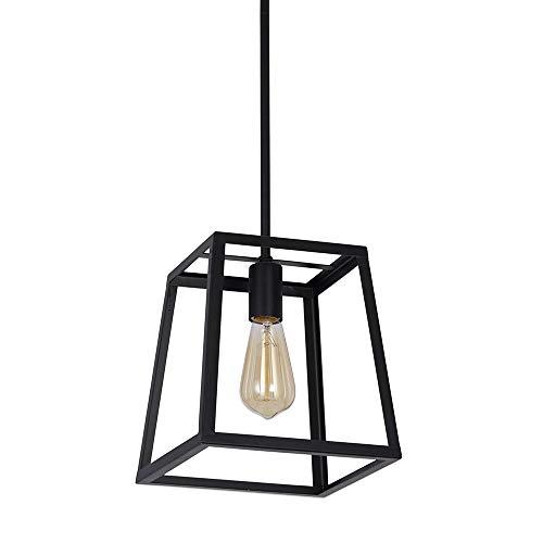 Stone Beam Industrial 1 Light Rectangle Chandelier Pendant With Bulb 1163W Matte Black 0 3
