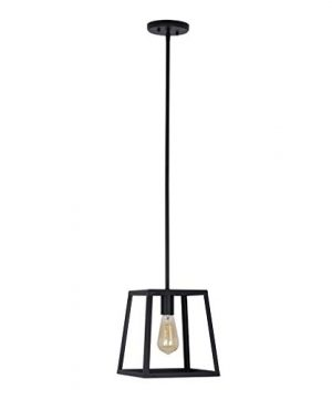 Stone Beam Industrial 1 Light Rectangle Chandelier Pendant With Bulb 1163W Matte Black 0 300x360
