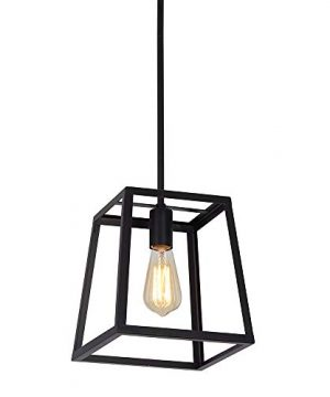 Stone Beam Industrial 1 Light Rectangle Chandelier Pendant With Bulb 1163W Matte Black 0 4 300x360