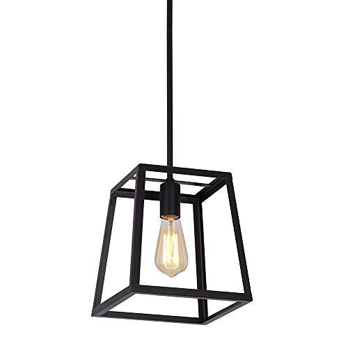 Stone Beam Industrial 1 Light Rectangle Chandelier Pendant With Bulb 1163W Matte Black 0 4