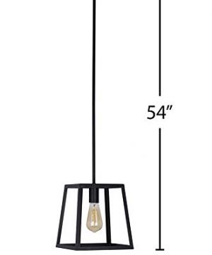 Stone Beam Industrial 1 Light Rectangle Chandelier Pendant With Bulb 1163W Matte Black 0 5 300x360