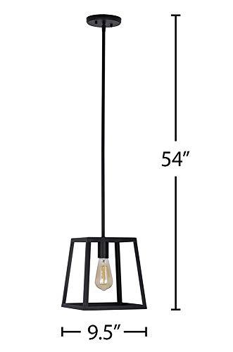 Stone Beam Industrial 1 Light Rectangle Chandelier Pendant With Bulb 1163W Matte Black 0 5