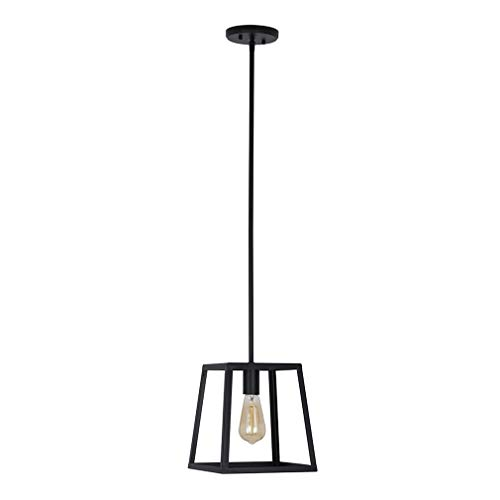 Stone Beam Industrial 1 Light Rectangle Chandelier Pendant With Bulb 1163W Matte Black 0