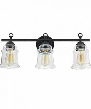 Stone Beam Modern Farmhouse Bathroom Wall Sconce Vanity Fixture With 3 Vintage Light Bulbs And Glass Shades 236 X 65 X 975 Inches Dark Bronze 0 300x360