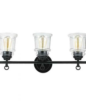 Stone Beam Modern Farmhouse Bathroom Wall Sconce Vanity Fixture With 3 Vintage Light Bulbs And Glass Shades 236 X 65 X 975 Inches Dark Bronze 0 4 300x360